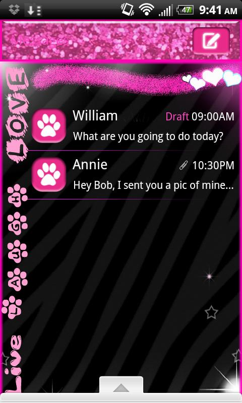 GO SMS PRO> Zebra Love Theme 4 - screenshot