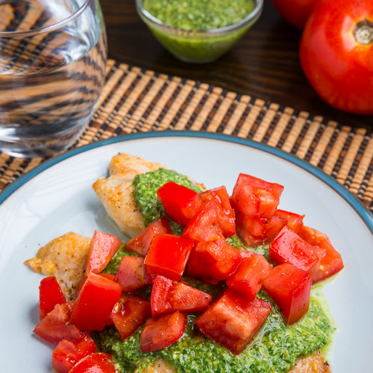 Parmesan Crusted Pesto Tilapia Bruschetta Recipe
