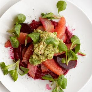 Beets & Crushed Avocado with Grapefruit.