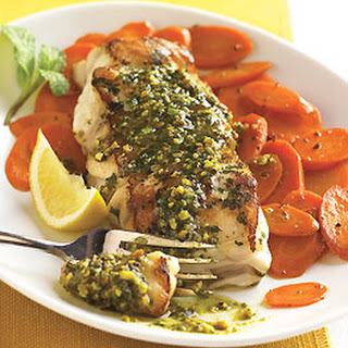 Sauteed Striped Bass with Mint Pesto and Spiced Carrots