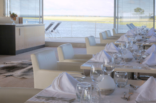 Zambezi-Queen-Restaurant-Dining-Room - Take in scenic views from the dining room aboard AmaWaterways' Zambezi Queen.