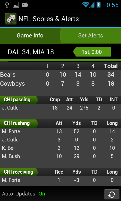 NFL Scores & Alerts - screenshot