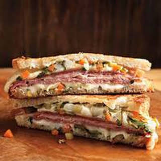 Muffuletta-Style Grilled Ham-and-Cheese Sandwiches.