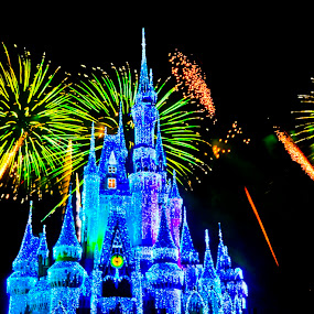 fireworks by Brett Kurtz - City,  Street & Park  Amusement Parks ( ciderella, walt, nola, show, by, disney, photos, magic, kingdom, florida, fireworks, orlando, castle, world )