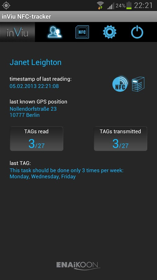 inViu NFC-tracker - screenshot