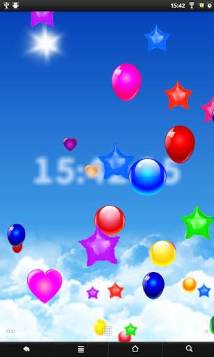 Balloons around clock