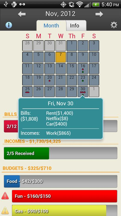 Bills Vs Income - screenshot