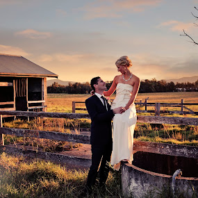 Rustic Landscape by Alan Evans - Wedding Bride & Groom ( wedding photography, aj photography, wedding dress, marriage, rustic, rustic landscape, wedding, wedding day, sunset, bride and groom, hunter valley, bride, groom, hunter valley wedding photographer, , improving mood, moods, red, love, the mood factory, inspirational, passion, passionate, enthusiasm )
