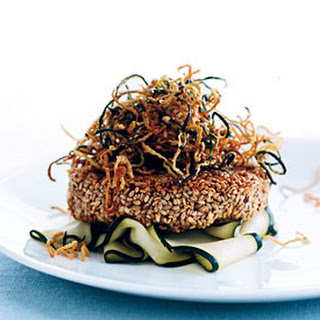 Sesame Tuna Burgers with Fried Shoestring Zucchini.