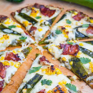 Grilled Corn, Roasted Poblano and Bacon Zucchini Crust Pizza.