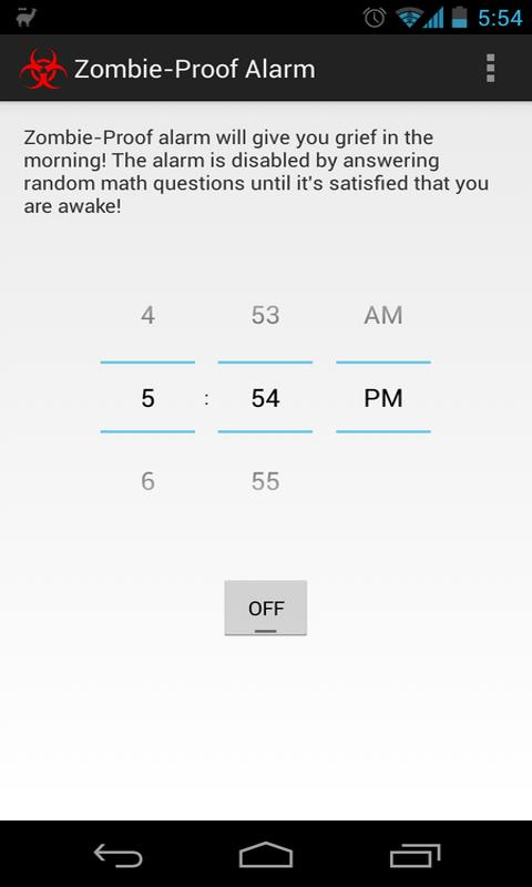 Zombie Proof Alarm Clock - screenshot