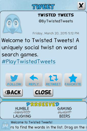 Twisted Tweets Word Search 1.0.5 screenshots 8