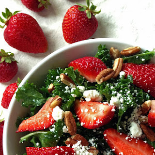 Kale Salad with Strawberries, Pecans and Goat Cheese - YUM!
