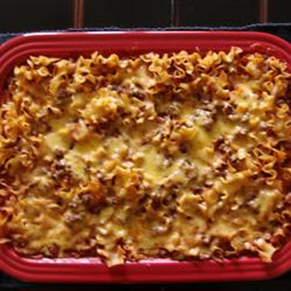 Chili Casserole with Egg Noodles.
