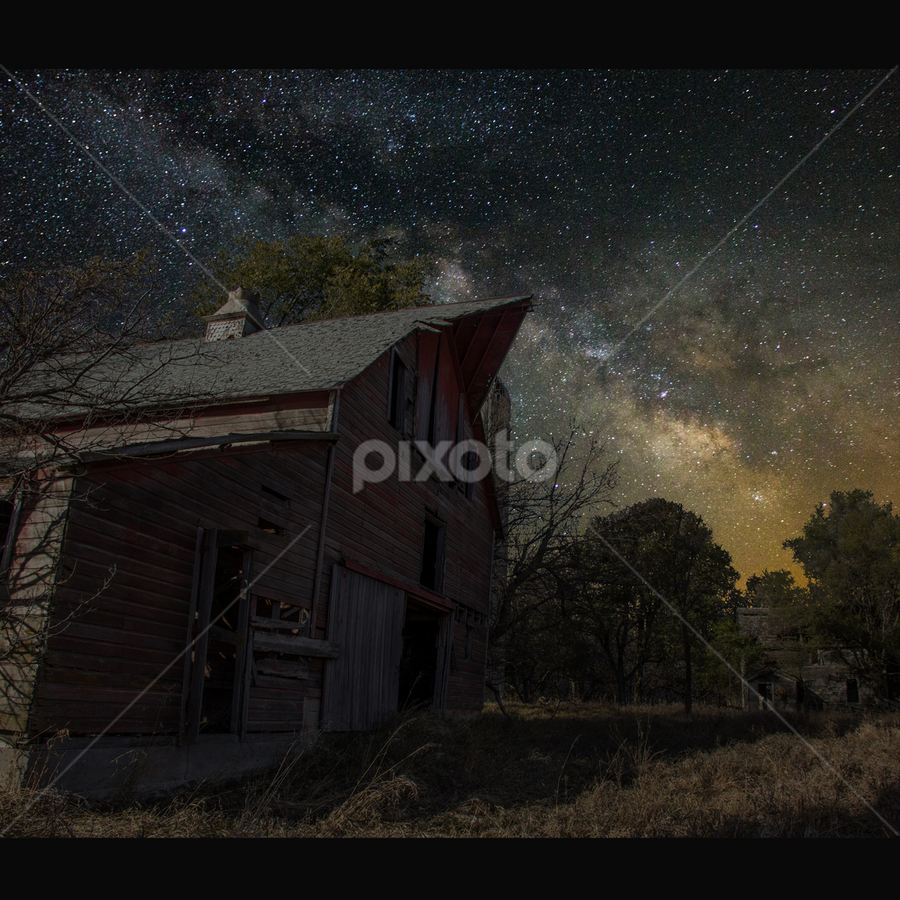 Barn III by Aaron Groen - Landscapes Starscapes ( border added to fit and resized for pixoto, barn series, light painting, forgotten series, pwcstars, barn, stars, milky way stars, starscape, milky way )