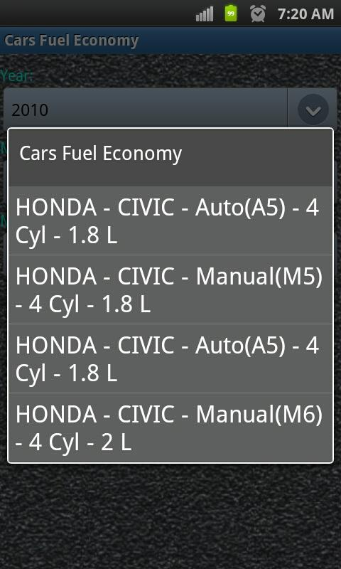 Car Fuel Economy - screenshot
