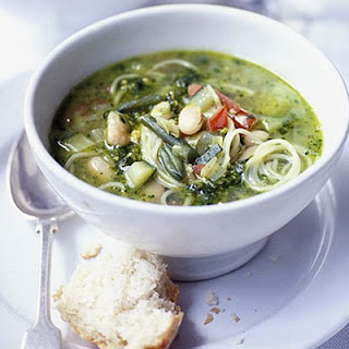 Spring Vegetable Soup with Basil Pesto Recipe