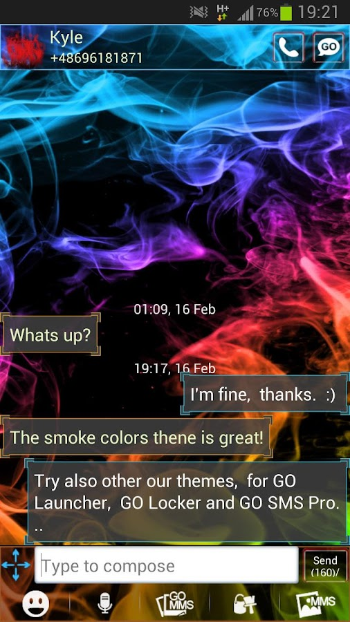 GO SMS Theme Color Smoke- screenshot