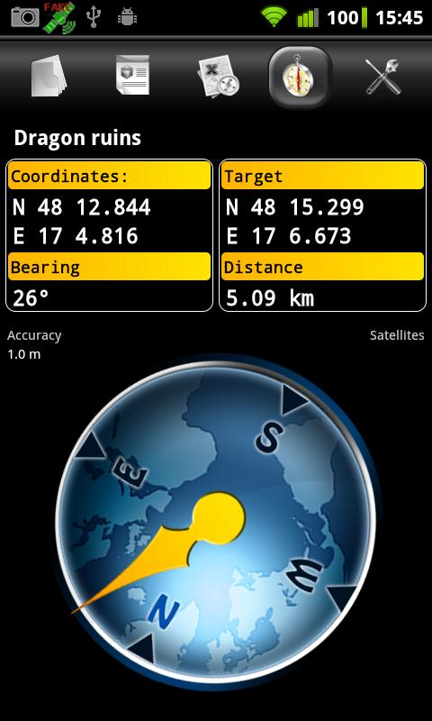Columbus (geo,open)caching app- screenshot
