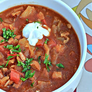 Spicy Pork and Cabbage Slow Cooker Goulash Soup.