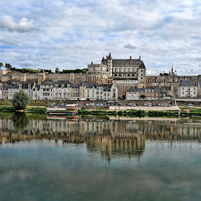 Story Book by Lanis Rossi - Buildings & Architecture Public & Historical ( reflection, fairy tale, colorful, monarchy, story book, scenic, refection in water, loire river, royal, loire valley, france, castle, chateau, river,  )