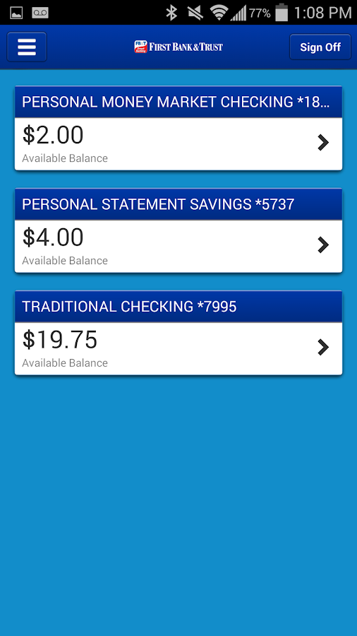First Bank&Trust Smart Banking- screenshot