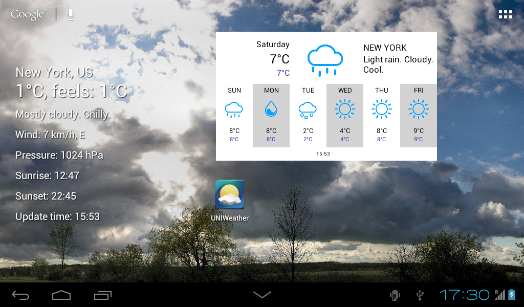 UNIWeather - Weather in pocket - screenshot