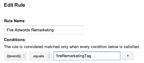Edit rule fire remarketing tag