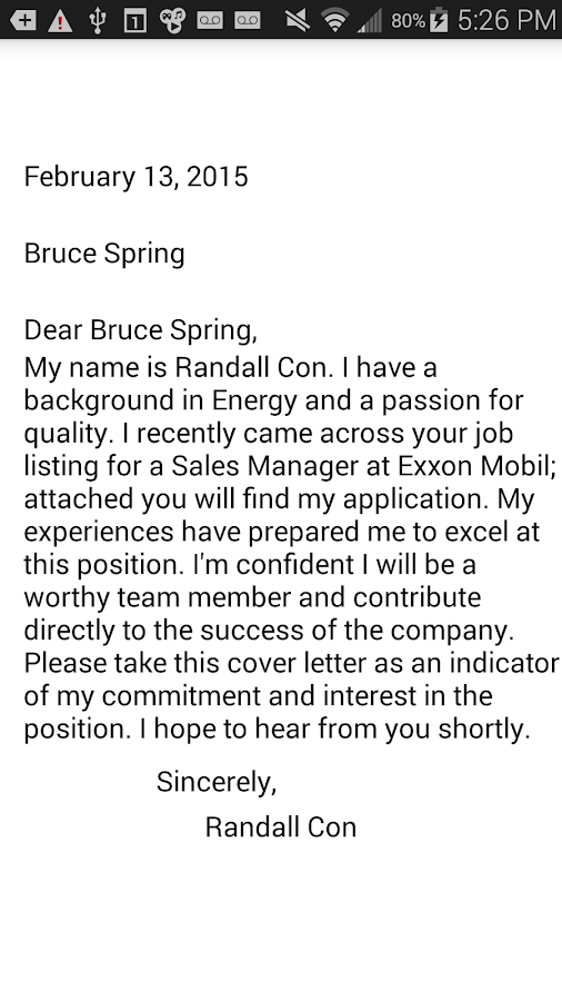 cover letter creator screenshot