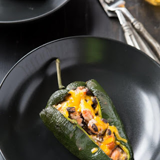 Shrimp Stuffed Poblano Peppers.