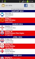 Screenshot of 2016 UK Holidays Calendar