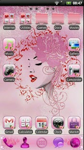 PINK ROSES GO Launcher Theme- screenshot thumbnail
