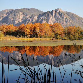 Mt. Si Reflection. by Laddy Kite - Landscapes Mountains & Hills