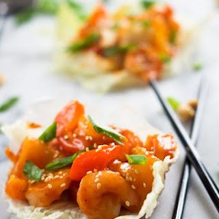 Sweet and Sour Shrimp Lettuce Wraps.