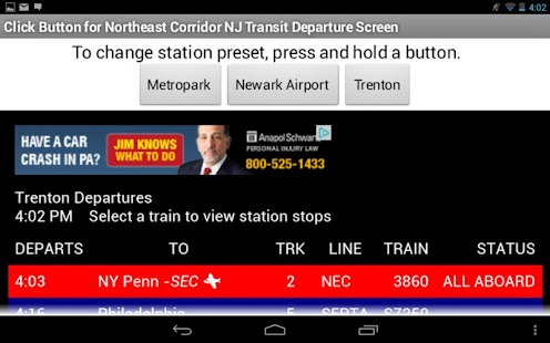 NJ Transit NEC Departures - screenshot thumbnail
