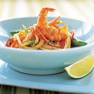Linguine with Sautéed Shrimp and Coconut-Lime Sauce.