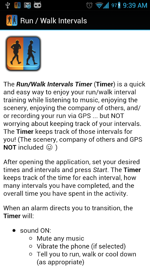 Run / Walk Intervals Timer- screenshot
