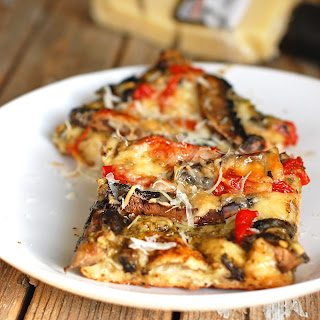 Portobello Red Pepper & Pesto Pizza.