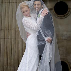 ...one way to catch a bride! by Joseph Quartson - Wedding Bride & Groom ( church, veil, bride, groom )