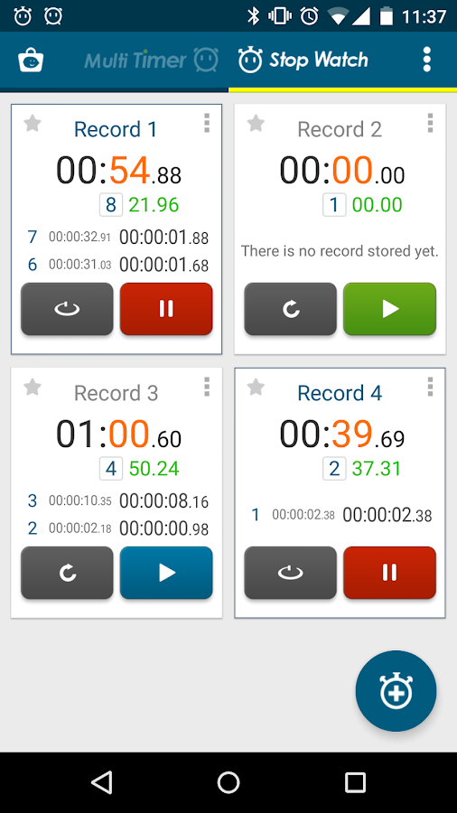 Multi Timer StopWatch - screenshot