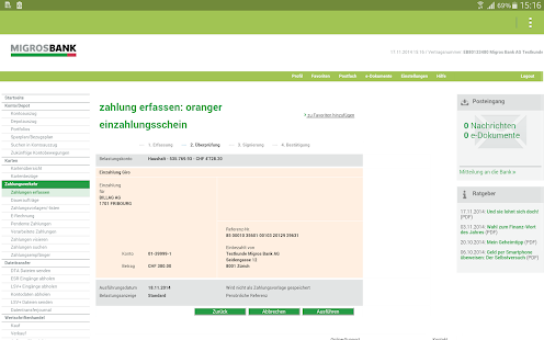 Migros Bank E-Banking Tablet - náhled
