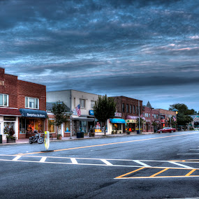 Downtown Denville by Ward Vogt - Uncategorized All Uncategorized ( clouds, surprises in store, united card and smoke, summit and main deli, photography, new jersey, blue, shoe and sneaker barn, pete's diner, denville, nj, broadway, downtown, ward vogt )