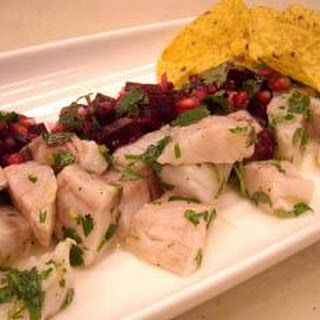 Sea Bass Ceviche With Beetroot And Pomegranate Salsa