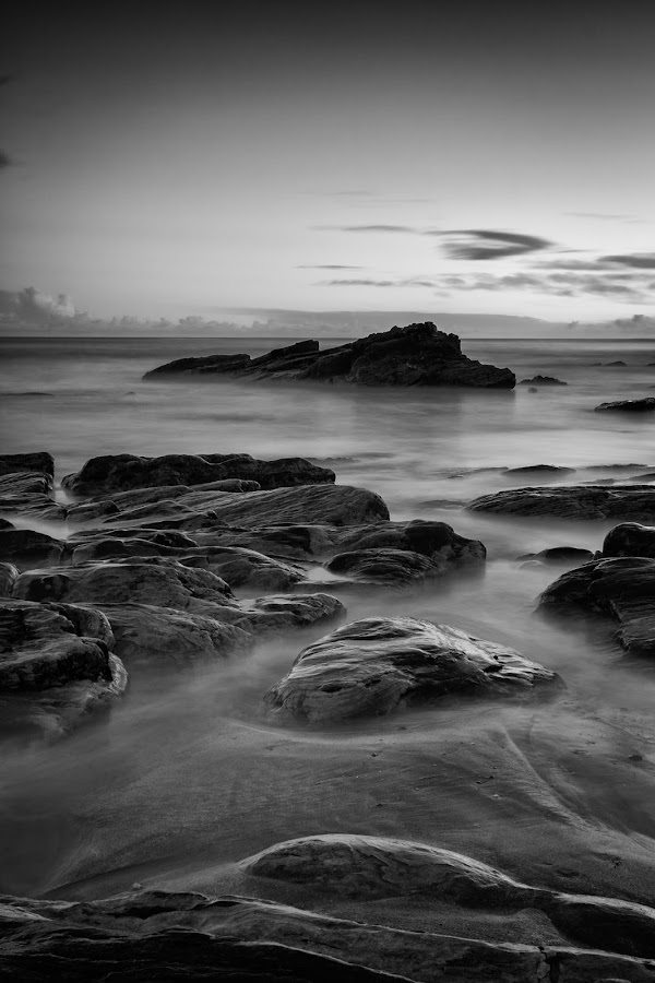 Rocky Bay by Graham Daly - Black & White Landscapes ( county cork, rocky bay, cork, seascapes, ocean, long exposure, coast,  )