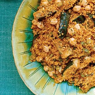 Quinoa with Grilled Zucchini, Garbanzo Beans, and Cumin.