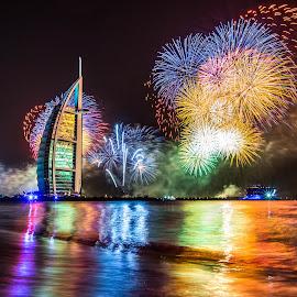 Burj Al Arab Fireworks by Tony Wu - Public Holidays New Year's Eve ( dubai, uae, burj al arab, fireworks, united arab emirates )
