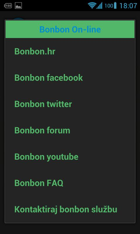 Bonbon info - screenshot