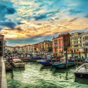 Magic Venice by Andrea Conti - Buildings & Architecture Public & Historical ( venezia, rialto, sunset, vista, buildings, venice, sea, italy,  )