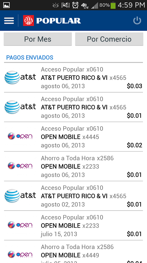 Mi Banco Mobile- screenshot