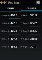 Screenshot of 1 Rep Max